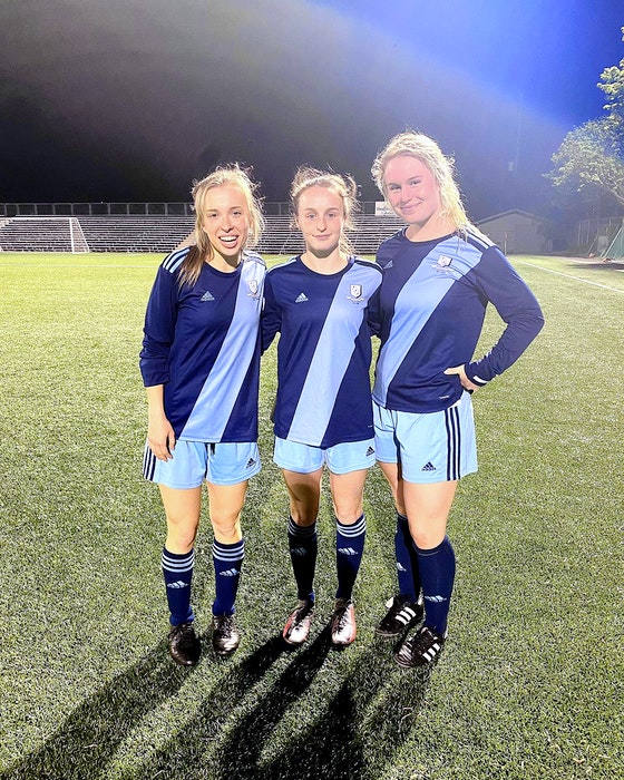 The goalscorers for Feildians in their season-opening 5-0 win over the Calvin Randell Strikers Thursday night. From left, Katie Joyce, Lauren Rowe (who had three goals) and Makayla Pearl. — Twitter/FAA