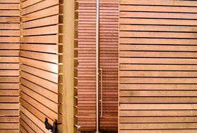 Rubinet's Pressure Balance Outdoor Shower is solidly constructed, and available in myriad metal or painted options.