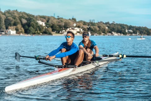 Tom Stender and partner Jay Chevalier training at Halifax Rowing Club on the Northwest Arm last fall. CONTRIBUTED
