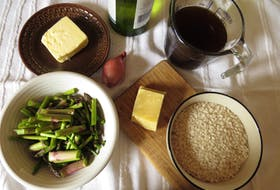 Here are some of the ingredients for Asparagus, Herb and Parmesan Risotto.