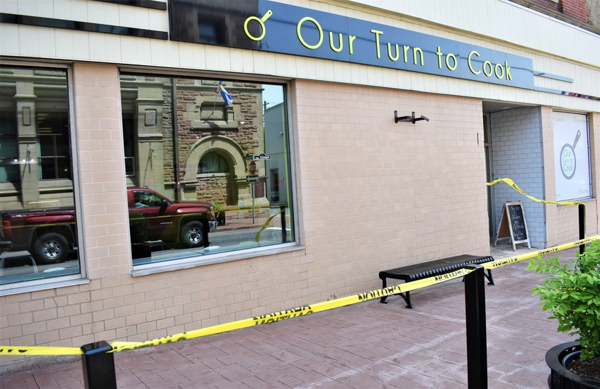 A taped-off area outlined the planned patio for Our Turn to Cook on Provost Street in New Glasgow.   - Richard MacKenzie