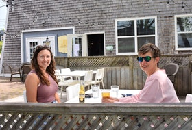 Lindy Quann and her mom Kim, from Pictou, enjoy a drink on the patio at Harbour House Ales and Spirits.