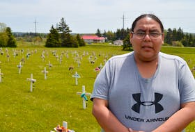 The Abegweit First Nation community in Scotchfort has placed 215 crosses just off Route 2, one each in memory of the 215 children at a former residential school in Kamloops, B.C. whose remains were found recently. Stephenson Joe, a resident of the Abegweit First Nation, said it's part of the Breaking the Silence ceremony taking place in the community until June 8. A child's shoes are laced over each cross. Joe said the public is welcome to visit the makeshift gravesite and pay its respects.