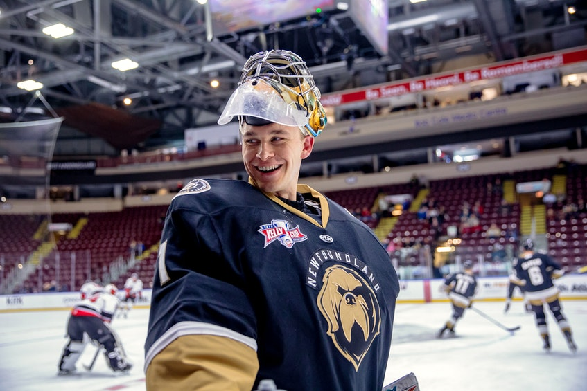 Goalie Parker Gahagen, the West Point graduate and U.S. Army officer who impressed with the Newfoundland Growlers during the second half of the 2019-20 ECHL season, has continued to do so with the Utah Grizzlies, one of the 14 ECHL clubs which have operated during the COVID-19 pandemic. — File/Newfoundland Growlers/Jeff Parsons