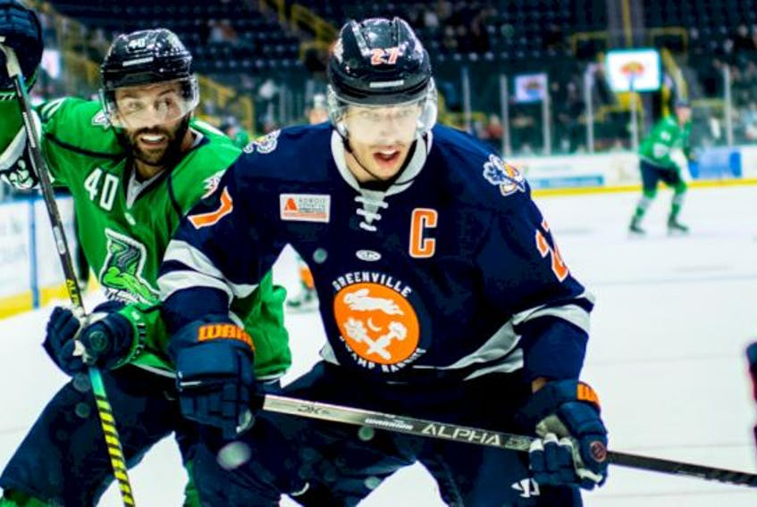 Joey Haddad, right, and the Greenville Swamp Rabbits will take part in the ECHL's Kelly Cup playoffs, beginning next week. CONTRIBUTED