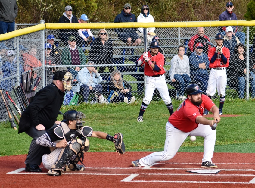Sydney Sooners Justin Brewer attempts a sacrifice bunt during a playoff game against the Dartmouth Moosehead Dry in a Nova Scotia Senior Baseball League playoff game at Susan McEachern Memorial Ball Park in Sydney in 2019. There's been no word on a senior baseball league season in 2021. CAPE BRETON POST