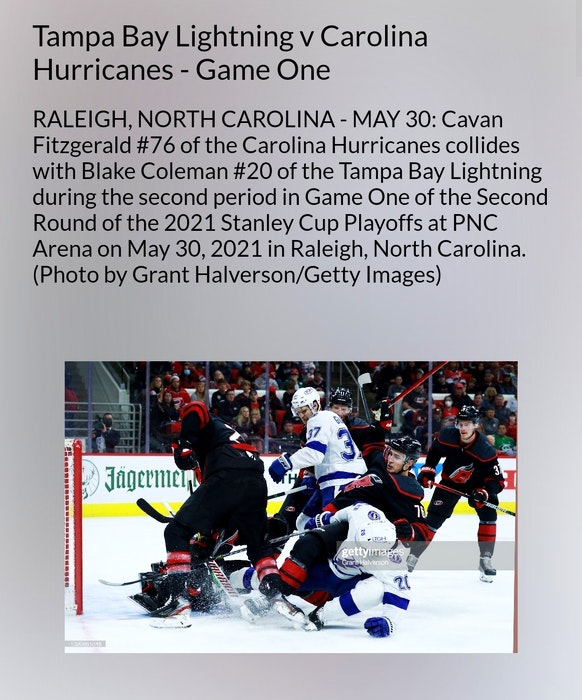 Lingan's Cavan Fitzgerald was mistakenly mentioned in this photo caption from Game 1 of the NHL's Carolina/Tampa Bay series earlier this week. CONTRIBUTED