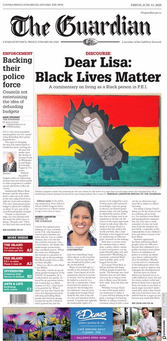 Debbie Langston's letter to the editor ran on the front page of The Guardian on June 12, 2020. - Contributed