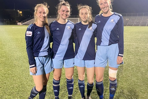 Shown are four of the newcomers to the Feildians Jubilee Trophy soccer team this season, all of whom made their Double Blues debuts in a 5-0 season-opening win over the Calvin Randell Strikers last week at King George V Park in St. John's. From left are Sheila Loshi, Lauren Slaney, Lauren Rowe — who scored three goals in the victory — and Spencer Wilkins. — Twitter/FAA