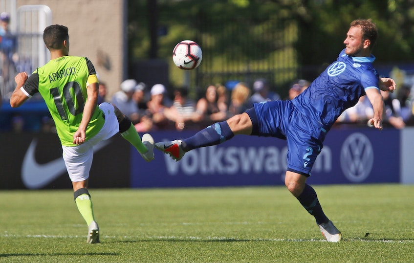 HFX Wanderers defender Peter Schaale battles for the ball against Manny Aparicio of York9 during the 2019 Canadian Premier League season at the Wanderers Grounds. The Wanderers are hoping to return to play in Halifax later this summer. - Tim Krochak / The Chronicle Herald