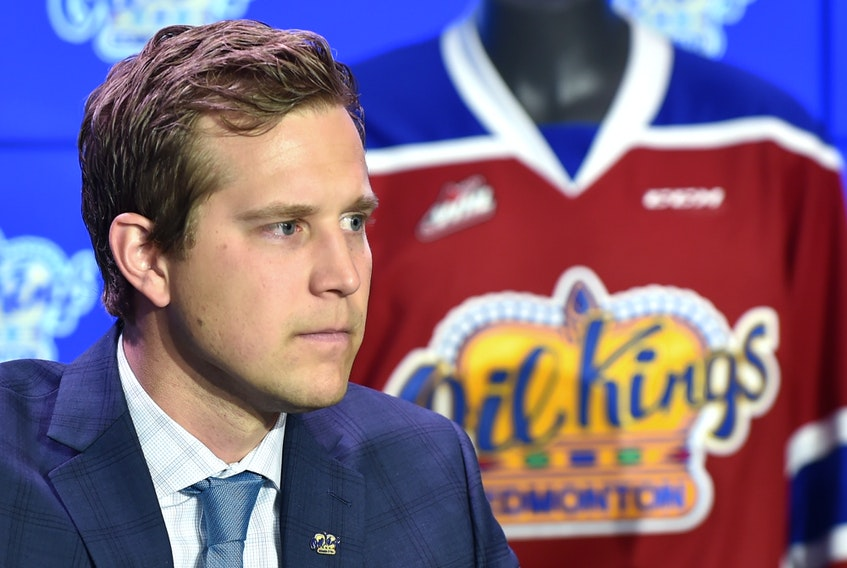 Kirt Hill, general manager of the Edmonton Oil Kings, speaks during a news conference at Rogers Place in Edmonton on June 27, 2018.