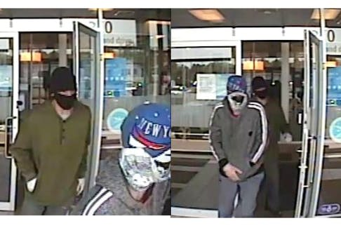 The Royal Newfoundland Constabulary has released these images of suspects wanted in connection with a mid-Monday bank robbery in St. John's.