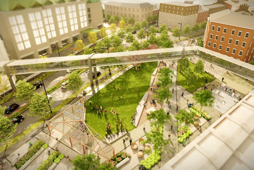 A rendering of the Granville Park area in the Cogswell interchange redevelopment plan in Halifax.