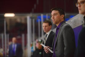 Borden-Carleton native Nicholas Tremere, holding the lineup card, is the new head coach of the Grand Falls Rapids. The Rapids play in the Maritime Junior Hockey League (MHL).
