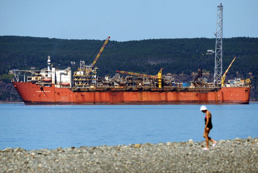 The future of the Terra Nova Floating, Production Storage and Offloading (FPSO) vessel, pictured here in Conception Bay in this file photo, is still not decided as government and operator Suncor Energy and its partner companies, continue discussions on the vessel and the offshore field.