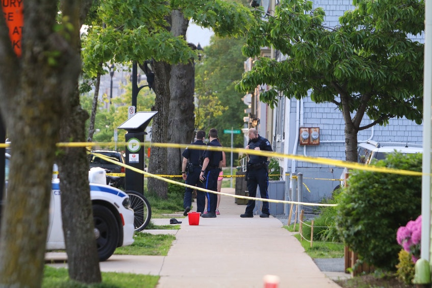 Halifax Regional Police have a scene taped off after a violent altercation on North Park Street in this file photo.  - ERIC WYNNE/CHRONICLE HERALD