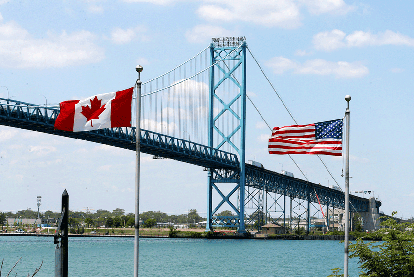 The international border crossing between Canada and the United States at the Ambassador Bridge in Windsor, Ontario.
