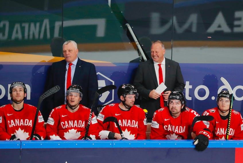 Head coach Gerard Gallant, right, and assistant coach Mike Kelly won gold with Team Canada at the world hockey championship in Latvia. Gallant is from Summerside while Kelly grew up in Shamrock and now lives in Charlottetown.  Vasily Fedosenko •  REUTERS