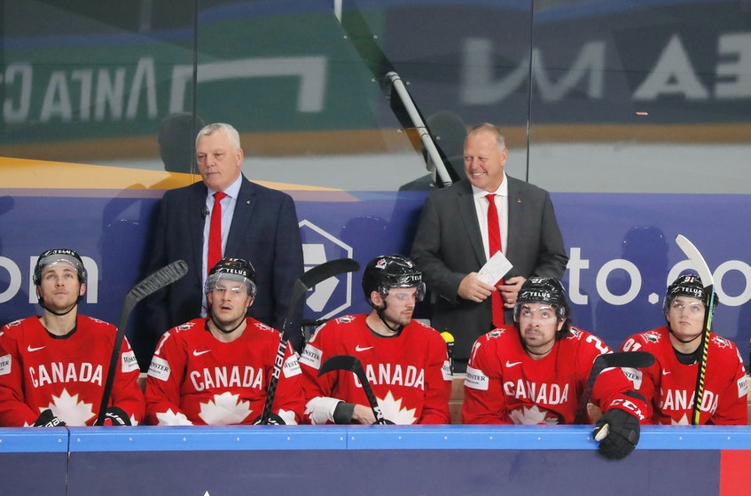 Head coach Gerard Gallant, right, and assistant coach Mike Kelly won gold with Team Canada at the world hockey championship in Latvia. Gallant is from Summerside .Vasily Fedosenko •  REUTERS -\