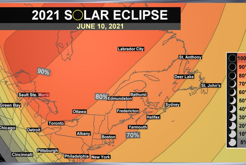 The partial solar eclipse will start approximately 30 minutes after sunrise on June 10 and end two hours later.  -WSI