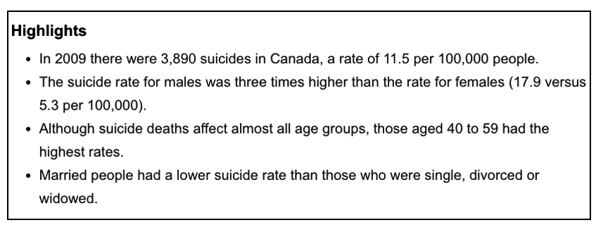 Highlights from Suicide rates: An overview by Statistics Canada. - Screen  grab