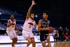 Dartmouth's Kellen Tynes, right, goes to the hoop in a game for Montana State against Eastern Washington. - Montana State University.