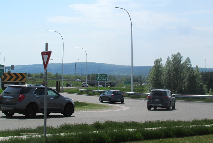 """""""It's not like the lines have faded ... they're gone,"""" CBRM Coun. Steve Gillespie says of the lack of lane markings throughout the Sydney River roundabout. IAN NATHANSON • CAPE BRETON POST"""