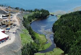 This photo taken by a drone shows the location of the brook near the Grieg Seafoods hatchery site in Marystown. Photo courtesy Grieg Seafoods.