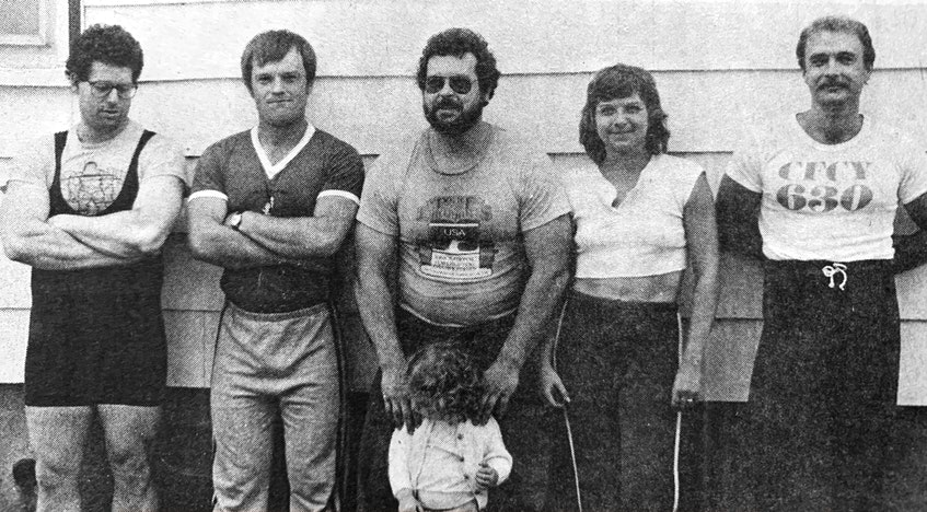 Hants County powerlifters, from left, Michael Eldridge, Stephen Barker, Graham Eldridge (with his daughter Danielle), Sandra Eldridge and Douglas Hogan each returned home with a gold medal from the Atlantic powerlifting championships that were held in Cape Breton in 1986. - File Photo