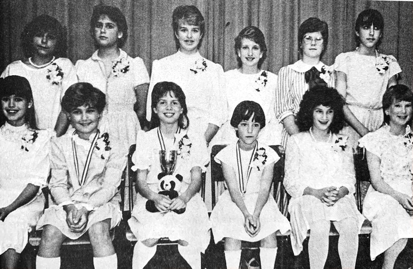 Windsor Elementary School students competed in the annual Pulsifer Speech Festival in the spring of 1986. Pictured here are, from left, back row: Stacy Morehouse, Kathy Dickie, Heidi McAdoo, Seadna Bigelow, Sara Kilcollins, and Angela Campagnoni; and from row: Hallie Dawson, colleen Dickie (third place), Nicola Delong (first place), Missy Payne (second place), Paula MacArthur and Shannon Niedermeyer. - File Photo