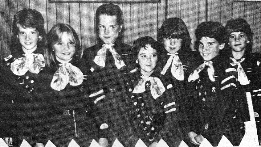 Members of the 1986 1st Ste. Croix Brownie Pact, from left, Krista Pemberton, Andrea Cochrane, Tara Hogan, Karen Burgess, Elaine Barkhouse, Megan Hamilton and Susan Barker, flew up to become Girl Guides. - File Photo