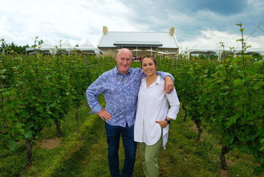 Pete Luckett, and his daughter Geena, at their winery outside of Wolfville on Wednesday, June 30, 2021.
