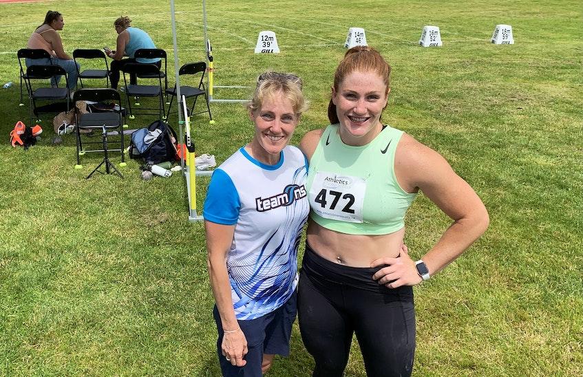 Olympian Sarah Mitton, right, with Tammy Gaudet, her youth coach at Bluenose Athletics. - Tim Krochak