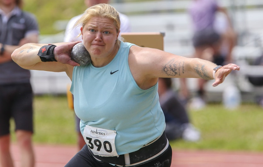Canadian Olympic shot putter Brittany Crew of Ontario competes during an Athletics Nova Scotia Athletics meet at Beazley Field on Saturday. Crew is preparing for the Tokyo Olympics. - Tim Krochak