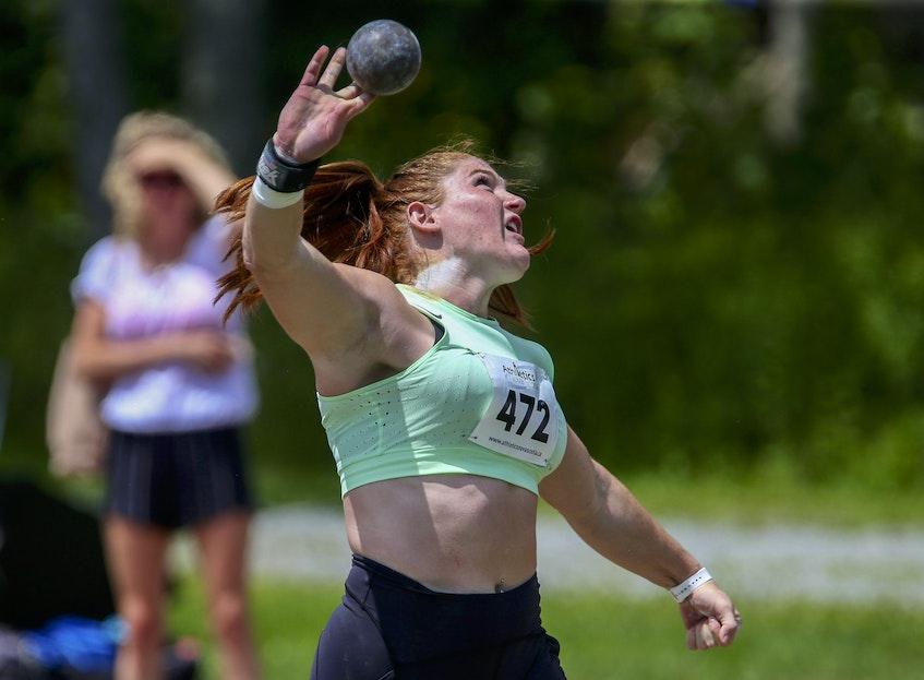 Sarah Mitton in action during an Athletics Nova Scotia meet at Beazley Field on Saturday. - Tim Krochak