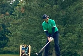 Ashburn's Brett McKinnon prepares to hit his tee shot on the par-3 15th hole during the Nova Scotia amateur golf championship at Avon Valley. - Glenn MacDonald