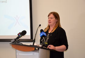 Naomi Shelton, director of policy and communications for Elections Nova Scotia, walks reporters through preparations that have been made for a safe provincial election, whenever it might be called.