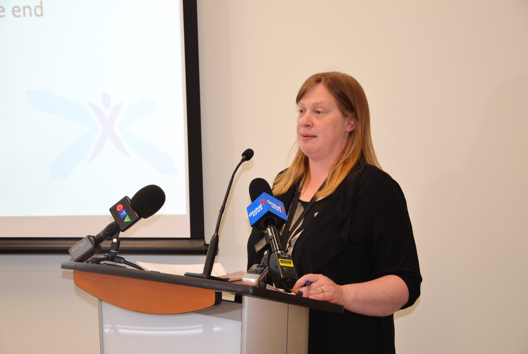 Naomi Shelton, director of policy and communications for Elections Nova Scotia, walks reporters through preparations that have been made for a safe provincial election, whenever it might be called. - Francis Campbell