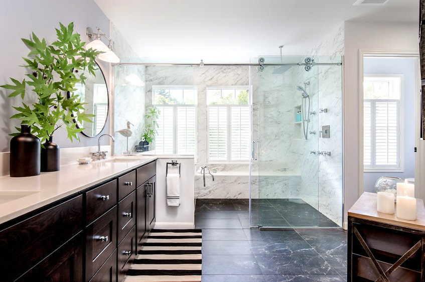 Open showers provide increased accessibility. - Very Red Design.