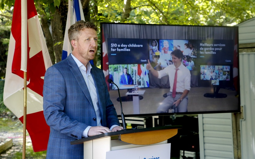Nova Scotia Premier Iain Rankin and Prime Minister Justin Trudeau, appearing by Zoom, take part in an early learning and child care announcement Tuesday. - Tim  Krochak