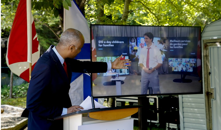 Ahmed Hussen, federal minister of families, children and social development, introduces  Prime Minister Justin Trudeau on ZOOM during an anoouncement about early learning and child care on Tuesday. - Tim  Krochak