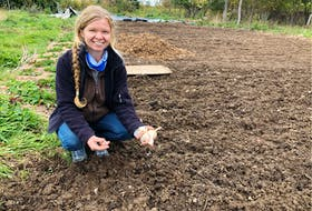 Estelle Levangie, owner of Thyme for Ewe Farm in Millville, in the garlic garden which is ready for planting. Levangie hosts Culture Exchange workshops. NICOLE SULLIVAN • CAPE BRETON POST