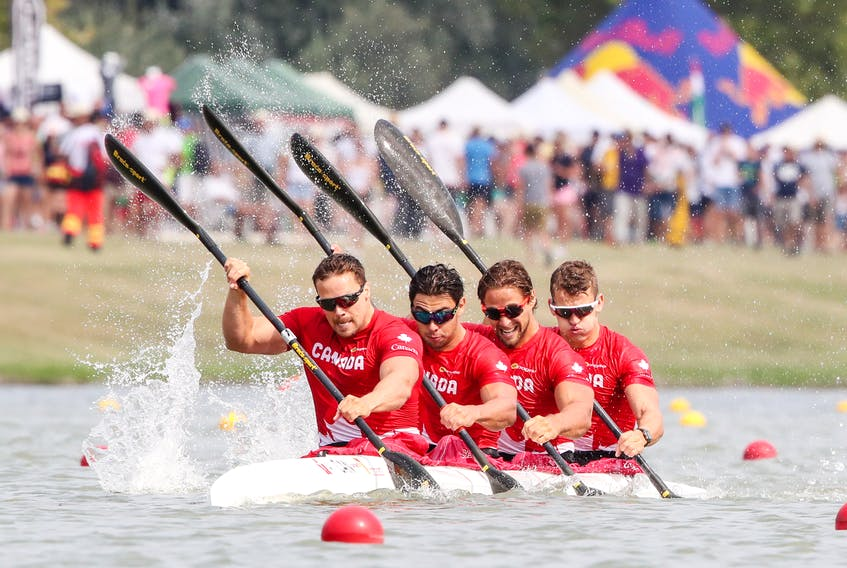 Halifax kayaker Mark de Jonge, front, leads the Canadian K-4 team of Nicholas Matveev, Pierre-Luc Poulin and Simon McTavish into the Tokyo Olympics. For de Jonge, this will be his third and final Olympics. – Canoe Kayak Canada