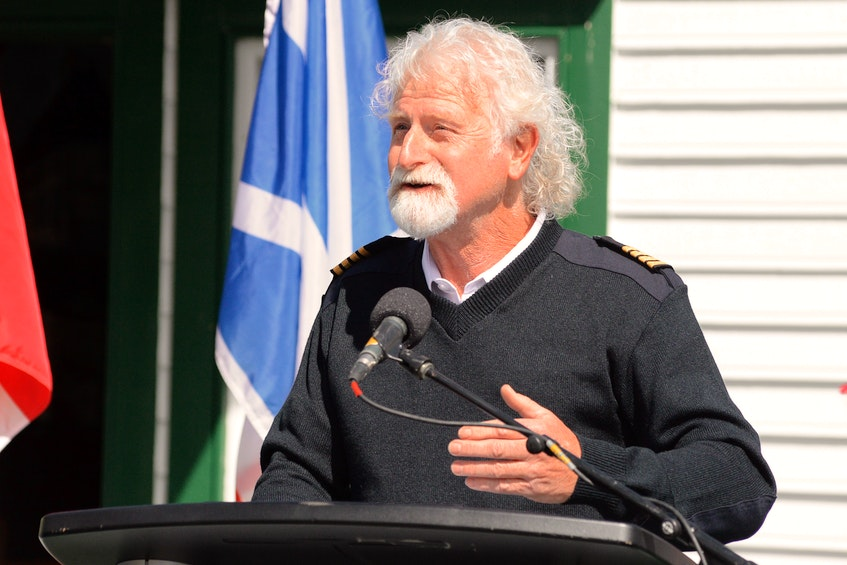 Capt. Barry Rogers of Iceberg Quest Tours speaks at a news conference Tuesday morning at Mallard Cottage in Quidi Vidi Village in St. John's. Keith Gosse • The Telegram