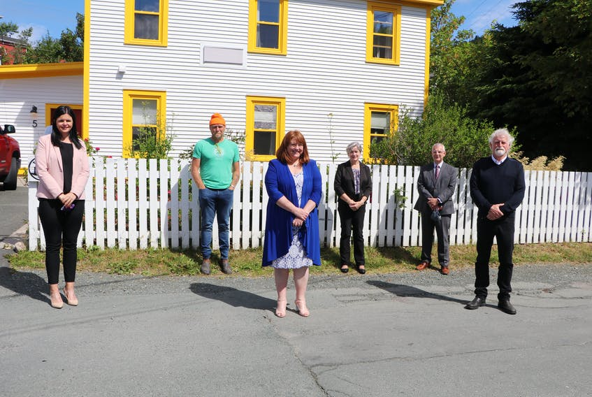 Local tourism sector leaders held a news conference Tuesday in St. John's to ask Prime Minister Justin Trudeau to do more to assure Canadians it is safe to travel in the country, in order to save the COVID-19-devastated tourism industry. Pictured (from left) are: AnnMarie Boudreau, chief executive officer of theSt. John'sBoard of Trade; Todd Perrin, owner and chef of Mallard Cottage; Brenda O'Reilly, owner of O'Reilly's Irish Newfoundland Pub and YellowBelly Brewery; Cathy Duke, CEO of Destination St. John's; Mayor Danny Breen; and Capt. Barry Rogers, president of Iceberg Quest Tours.