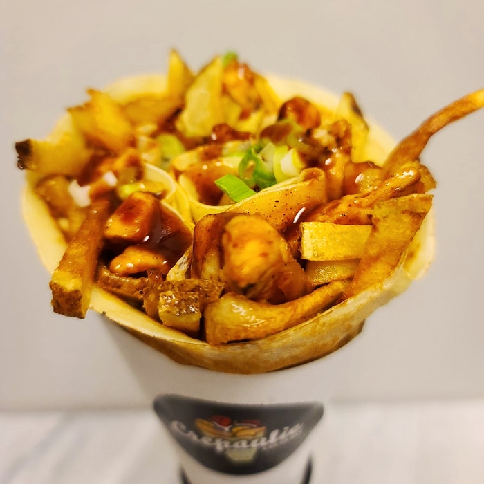 Crepaulie's BBQ chicken with fries crepe. - Contributed