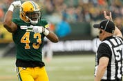 Edmonton Elks linebacker Vontae Diggs (43) celebrates a tackle against the B.C. Lions at Commonwealth Stadium on June 21, 2019.