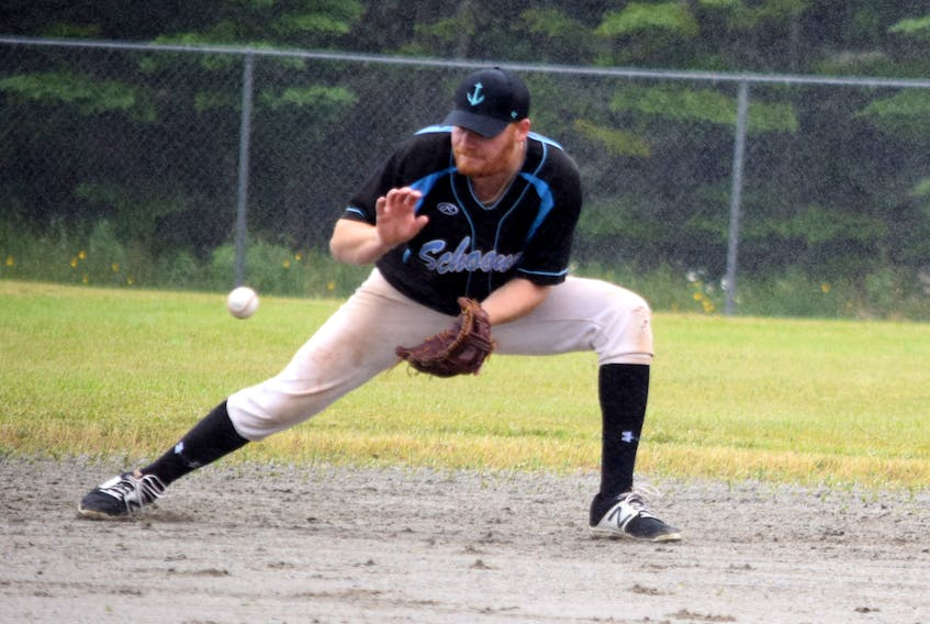 Sherose Island Schooners second baseman Ty Ross makes the catch during season opener action against the Windsor Knights in the Nova Scotia Intermediate Baseball League. KATHY JOHNSON