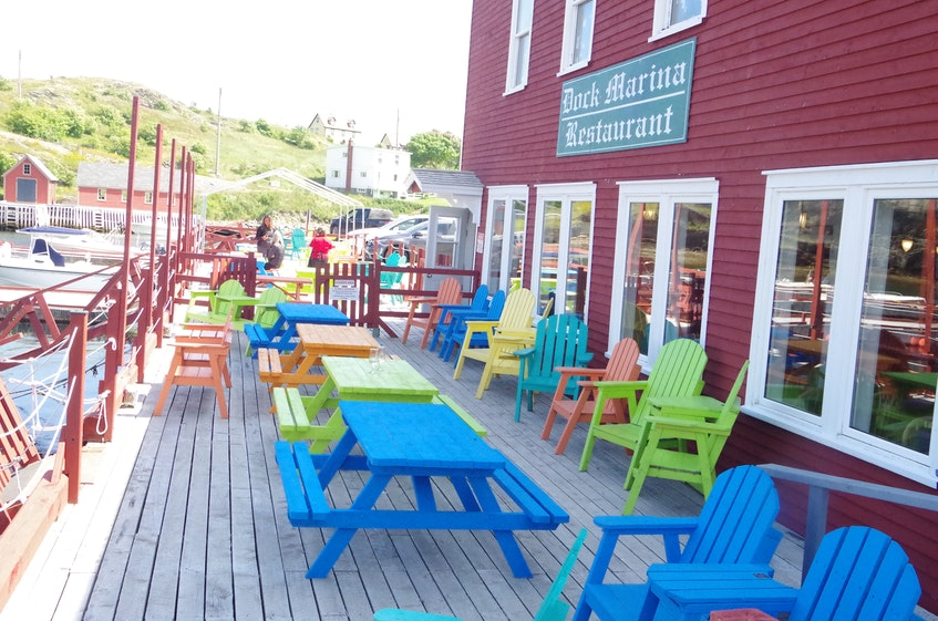 At the Dockside Marina in Trinity the tables are ready for diners on the outside deck. - Barb Dean-Simmons