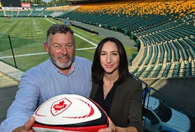 Gareth Rees, Rugby Canada director, and Janelle Janis of Explore Edmonton undergoing site inspection on July 14, 2021, ahead of the Edmonton International Sevens rugby competition at Commonwealth Stadium  set for Sept. 3-5, 2021.